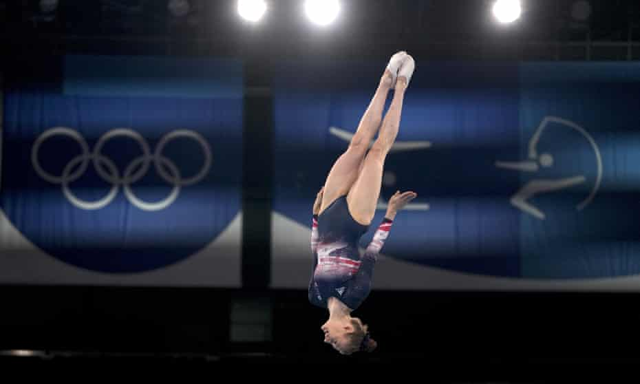 Bryony Page competes in the women's trampoline in Tokyo