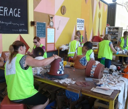 A mosaic workshop taking place at The Tinkerage in Shellharbour