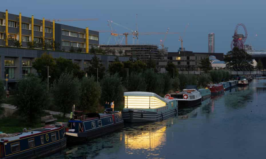 A guiding beacon … the Genesis chapel moored at Hackney Wick.