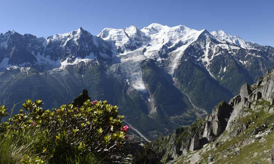 Mont Blanc in the French Alps as seen from Brevent mountain.