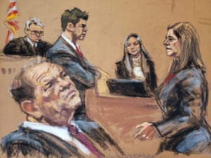 A witness testifies in a courtroom sketch at Harvey Weinstein's trial in New York, New York, on 4 February.