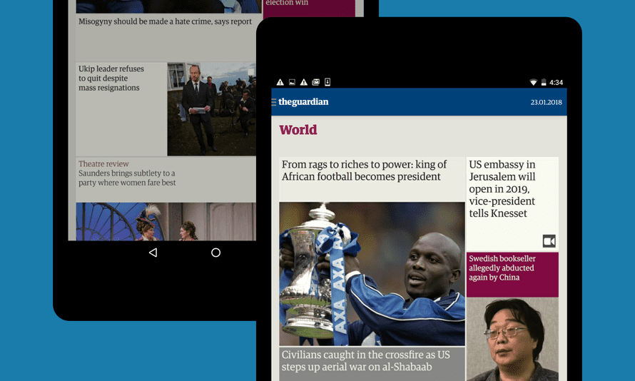 The Guardian tablet edition on Android and Kindle Fire devices