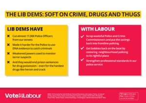 The Labour leaflet attacking the Lib Dems on crime.