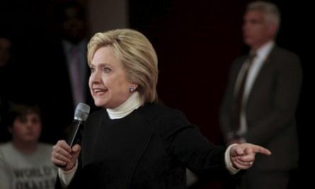 Hillary Clinton in Toledo, Iowa, on Monday.
