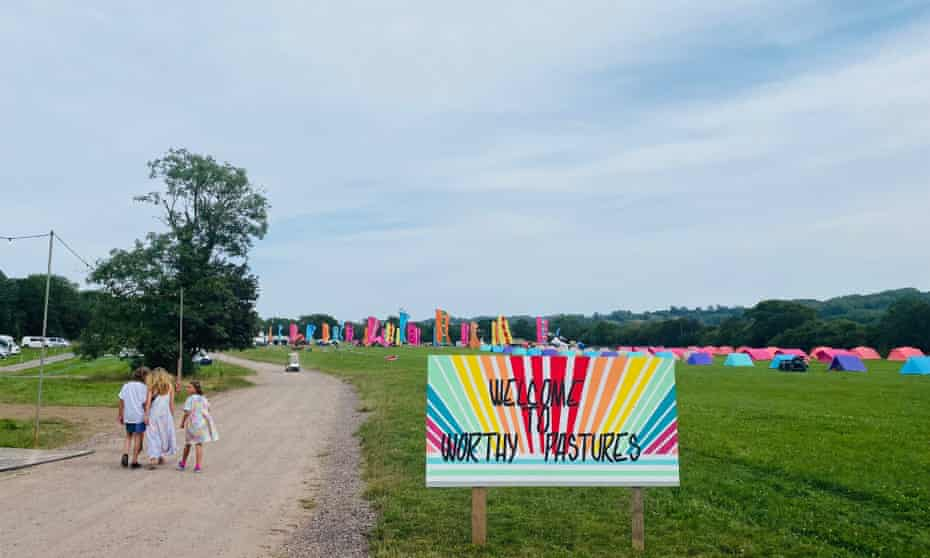 People and colourful tents at Worthy Pastures