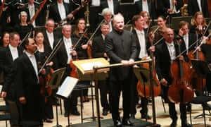Thrilling … Gianandrea Noseda, on platform, with the London Symphony Orchestra.