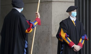 Two Swiss Guards in masks