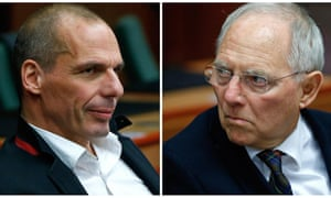 Greek finance minister Yanis Varoufakis and his German counterpart Wolfgang Schäuble at the start of an extraordinary euro zone finance ministers meeting (Eurogroup) to discuss Athens' plans to reverse austerity measures agreed as part of its bailout.