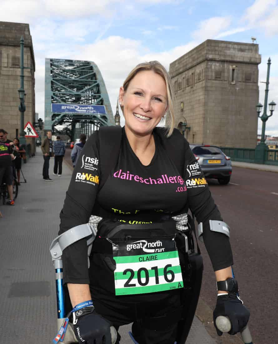 Claire Lomas on the Tyne bridge during the Great North Run.