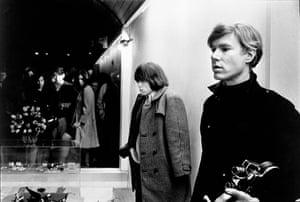 Brian Jones and Andy Warhol at Paraphernalia launch, New York City, 1966