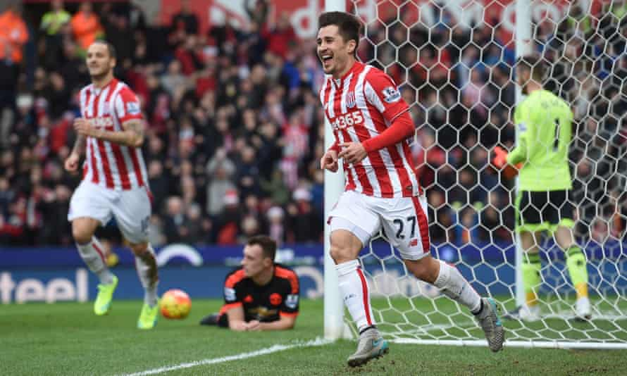 Stoke City celebrate after scoring in their win over Manchester United