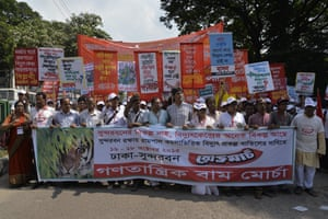 Marchers call for cancellation of Rampal coal-based power plant project, Dhaka, October 2015