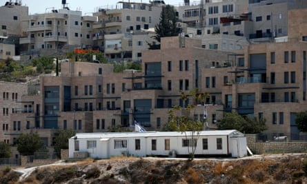 A Palestinian neighbourhood In Israeli-occupied East Jerusalem, with the Israeli settlement of Nof Zion in the foreground.