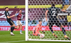 Ayling clears a shot off the line from Grealish