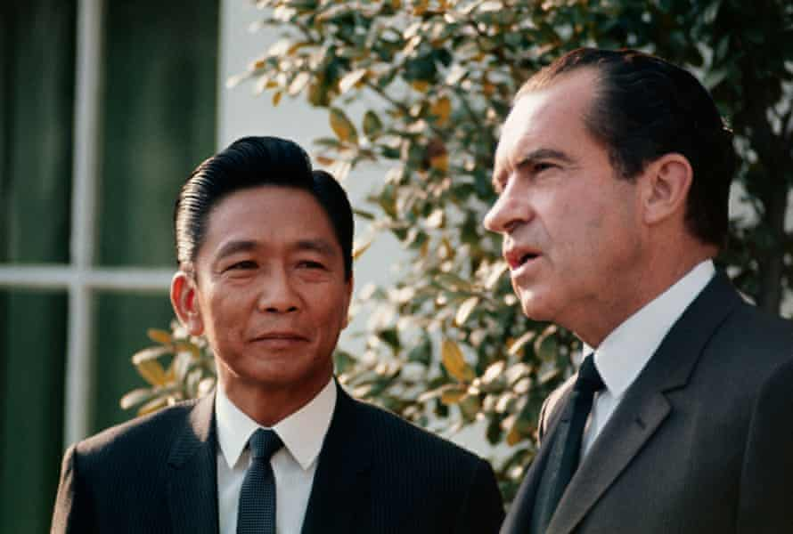 Ferdinand Marcos with Richard Nixon after a meeting at the White House in 1969