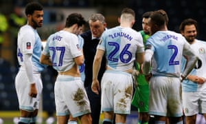 Blackburn Rovers manager Tony Mowbray gives instructions to his players before extra time.