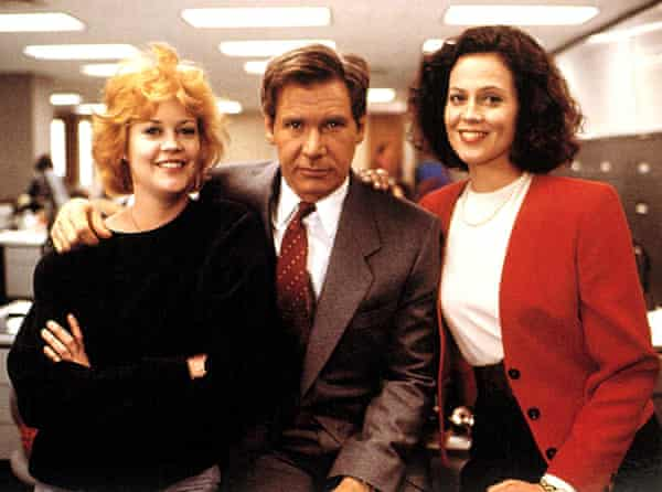 Actors Melanie Griffith, Harrison Ford and Sigourney Weaver in the 1988 film Working Girl