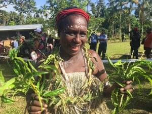 Francesca Semoso, women's representative and deputy speaker of the ABG House of Representatives, in Buka on the opening day of voting in the Bougainville independence referendum.