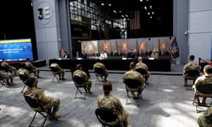 Cuomo addresses US soldiers helping with the coronavirus effort in New York City today.