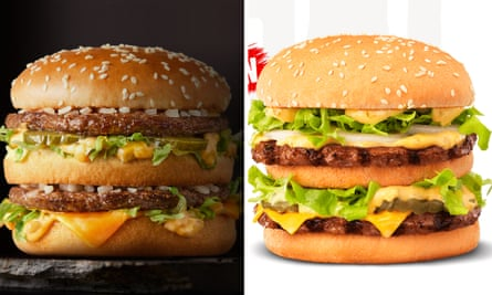 Composite of McDonald's Big Mac burger and Hungry Jack's Big Jack burger