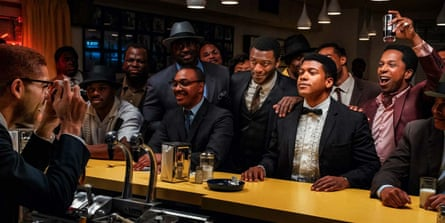 From left: Kingsley Ben-Adir as Malcolm X taking a photo of Aldis Hodge (standing, centre, in white shirt) as Jim Brown, Eli Goree (in tux) as Cassius Clay and Leslie Odom Jnr (raising glass) as Sam Cooke in One Night in Miami.