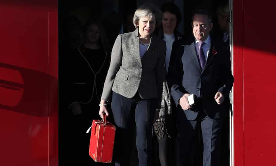 Theresa May and Liam Fox at Heathrow as they leave on a visit to India