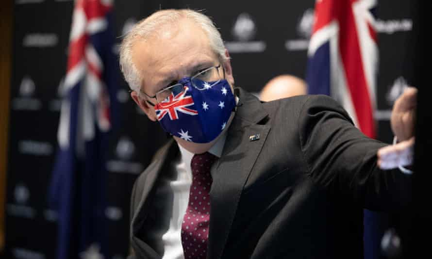 Prime minister Scott Morrison at a press conference to release the Covid vaccination modelling from the Doherty Institute