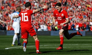 Wales' Daniel James celebrates scoring against Slovakia in the Euro 2020 qualifier in March.