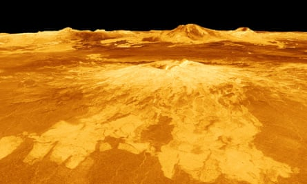 Computer-generated view of surface of Venus.
