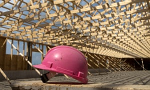 A pink hard hat