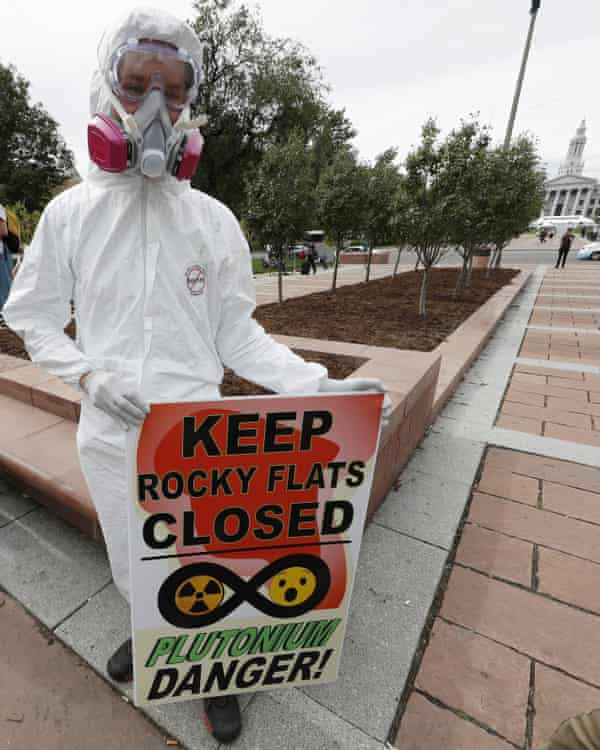 Aaron Weiner attends a rally in 2017 near the state capitol in Denver, to protest plans to build public trails and a visitors center at Rocky Flats National Wildlife Refuge west of Denver, the site of a former nuclear weapons plant.