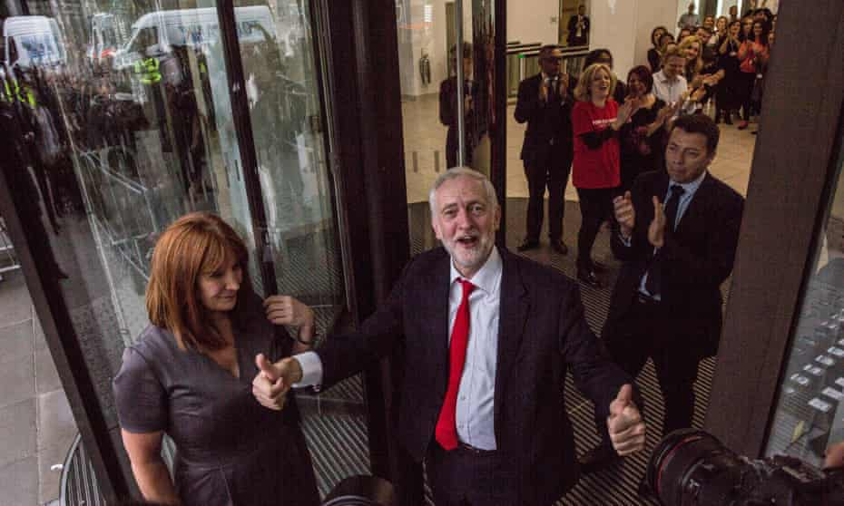 Jeremy Corbyn and Karie Murphy arrive at Labour HQ the morning after the election.
