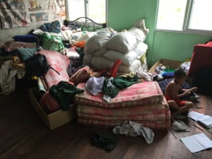 Piled-up clothes and mattresses at a private orphanage in Myanmar.