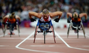 Hannah Cockroft triumphs for Great Britain in the T34 200m at the 2012 Paralympics in London.