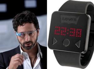 Diane Von Furstenberg, Sergey BrinL: Google co-founder Sergey Brin wears Google Glass in 2013; R: A Levi's smartwatch.