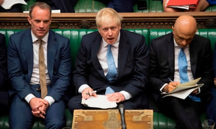 Boris Johnson on the Tory frontbench with Sajid Javid and Dominic Raab