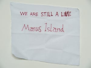 A hand written note from a detainee on Manus Island. The detainees are asylum seekers and refugees. The facility is run by the Australia government.