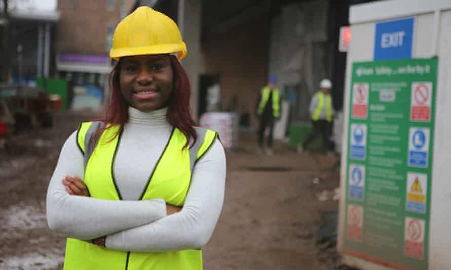 Damilola Ola on a building site