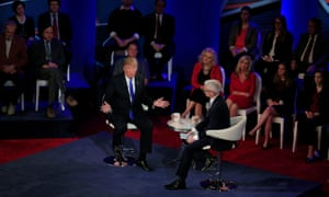 Republican Presidential candidate Donald Trump takes part in a town hall event moderated by Anderson Cooper in Milwaukee, Wisconsin.
