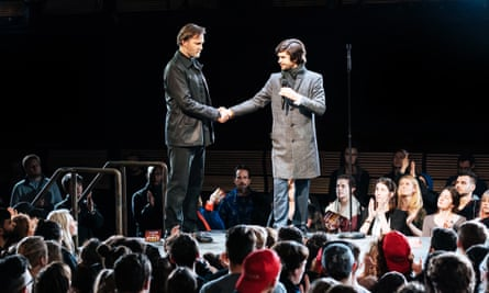 David Morrissey (Mark Anthony) and Ben Whishaw (Brutus) in Julius Caesar at the Bridge Theatre, London. January 2018.