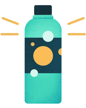 New bottle made from recycled plastic.