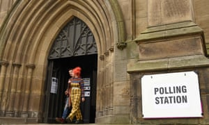 People leaving Leeds Minster, converted into a polling station for the day.