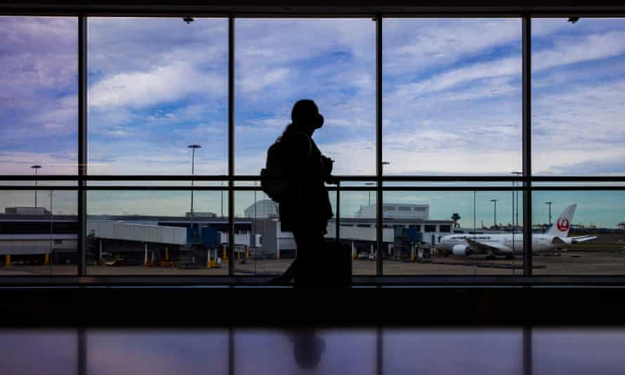A traveller at Sydney international airport last month.