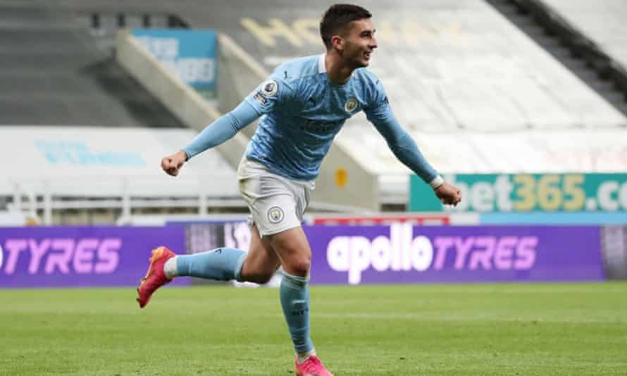 Ferran Torres celebrates scoring his hat-trick with a brilliantly reflexive rebound in Manchester City's win over Newcastle at St James' Park.