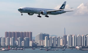 A Cathay Pacific jet prepares to land in Hong Kong