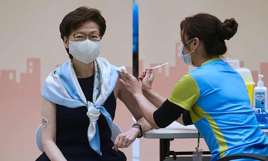 Hong Kong's chief executive, Carrie Lam, receives a second dose of the Sinovac Biotech Covid-19 vaccine