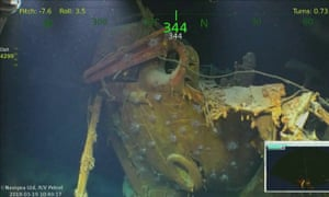 Video image shows wreckage from the USS Juneau.