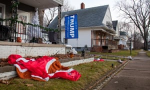 A Trump flag is seen among Christmas decorations in Michigan.