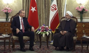 Iran's president, Hassan Rouhani, right, meeting his Turkish counterpart, Recep Tayyip Erdoğan, at the Saadabad palace in Tehran. Rouhani praised Turkey for backing the recent nuclear agreement with the west.