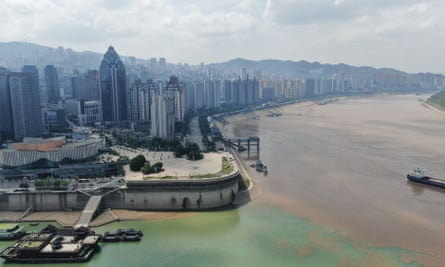 erial view of the confluence of Yangtze River and Wujiang River in Chongqing, China,